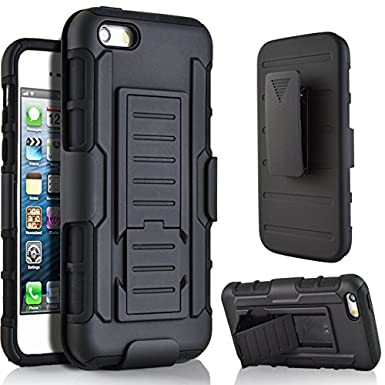 5C Case, Lantier Full Protection Heavy Duty Hybrid Armor Dual Layers Holster Combo Rugged Defender Protective Case for Apple iPhone 5C with Kickstand and Locking Belt Swivel Clip - Black L-1369-9