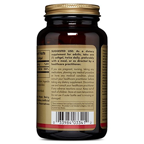 Solgar Vitamin D3 (Cholecalciferol) 1,000 IU Softgels Supports Bone, Muscle and Immune System