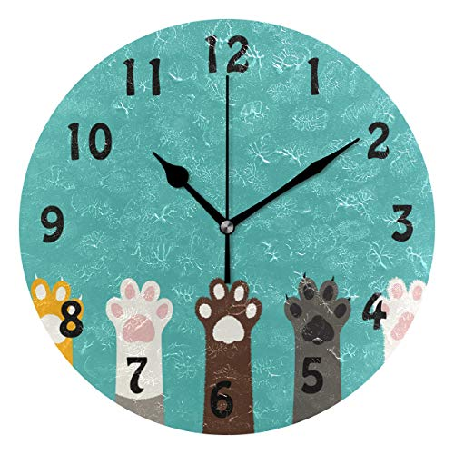 SEULIFE Wall Clock Cute Cat Paw Print Pattern, Silent Non Ticking Clock for Kitchen Living Room Bedroom Home Artwork ()