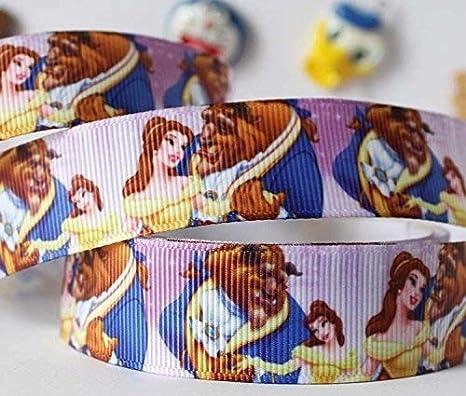 2 mx 22 mm Disney bella y la bestia groguén cinta para tarta de cumpleaños o regalos, lazos, tarjetas craft cordones