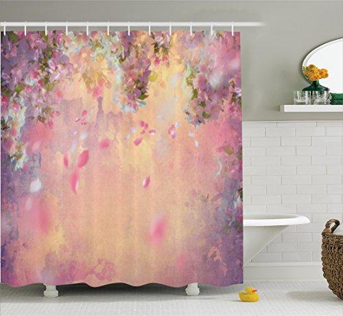 Ambesonne House Decor Shower Curtain Set, Cherry Tree Blossom Cheerful Childish Fun Cartoon Art Garden in Sakura Season, Bathroom Accessories, 84 Inches Extralong, Pink Green Black