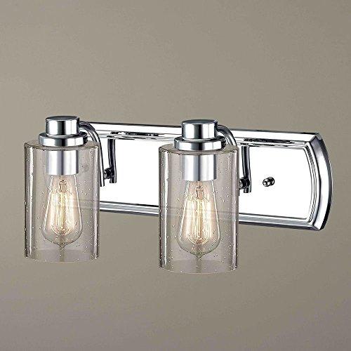 Industrial Seeded Glass Bathroom Light Chrome 2 Lt ()
