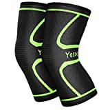 Yosoo Knee Sleeves (1 Pair) Support Gear for Running, Jogging, Walking, Hiking, Workout, Basketball, Knee Injury Pain Arthritis Relief, Knee Compression Sleeve, Fits Men Women (XL)