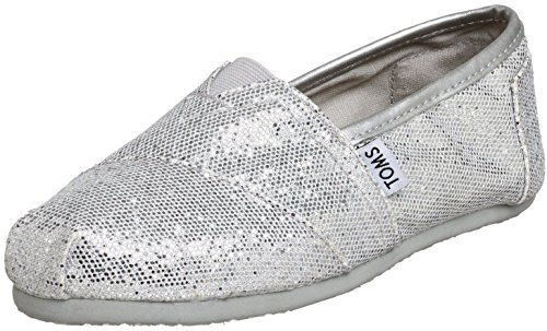 Toms Classic Silver Glitter Womens Canvas Espadrille Shoes Slipons-4