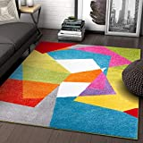 Art Deco Geos Multi Cubes Yellow Orange Blue Modern Abstract Shapes Colorful 8x10 ( 7'10' x 9'10' ) Area Rug Easy Clean Stain Fade Resistant Contemporary Art Boxes Square Geometric Thick Soft Plush