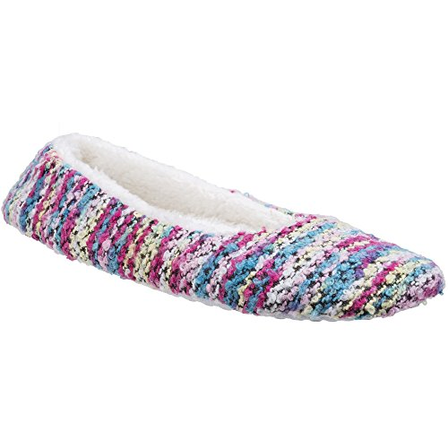 Divaz Womens/Ladies Morzine Knitted Slip On Fluffy Sock Slippers Pink E3781oyJd