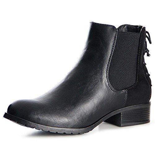 topschuhe24 992 Damen Stiefeletten Chelsea Boots Booties Schwarz