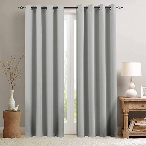 Grey Blackout Curtains for Bedroom 84 inches Long Triple Weave Window Curtain Panels for Living Room Darkening Boy Room Thermal Insulated Drapes, Grommet Top, 1 Pair, Gray (Curtains Silver Grey)