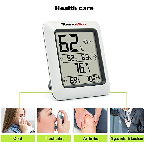 Large Product Image of ThermoPro TP50 Digital Hygrometer Indoor Thermometer Humidity Monitor with Temperature Humidity Gauge