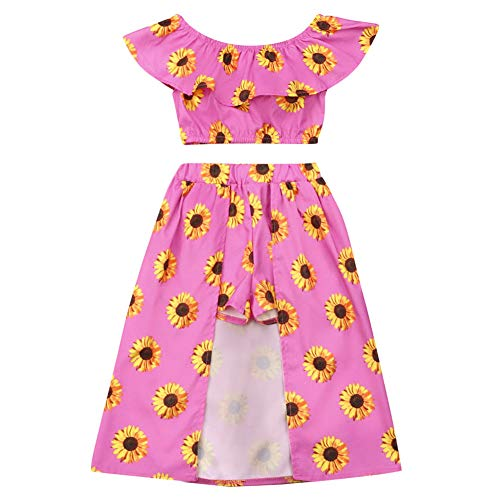 Kids Baby Girls Sunflower Clothes Off Shoulder Crop Top and Maxi Pant Skirt Outfit Set (5T, Rose Red)