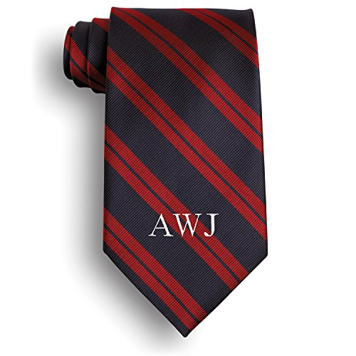 Personalized Hampshire Signature Stripe Tie with Embroidered Initials
