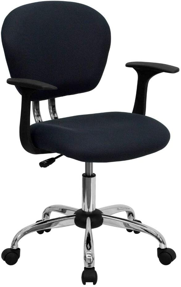Flash Furniture Mid-Back Gray Mesh Padded Swivel Task Office Chair with Chrome Base and Arms