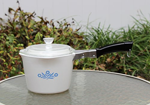 Corning Blue Cornflower 4 Cup 1 Qt Saucemaker with Lid and Handle