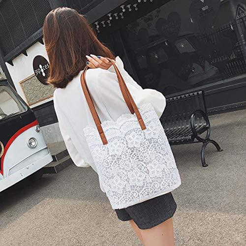 A Bianco Kawei Grande Borsetta Ultraleggero Mano Shopping Spalla Paillettes Borsa Viaggio Vintage Tracolla Donne Semplice Twin Set Borse Pizzo Pelliccia wRH0R4q