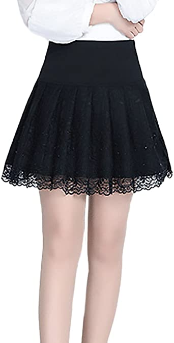 Faldas Mujer Negro Encaje Niñas Ropa Strass Falda Plisada Talla ...
