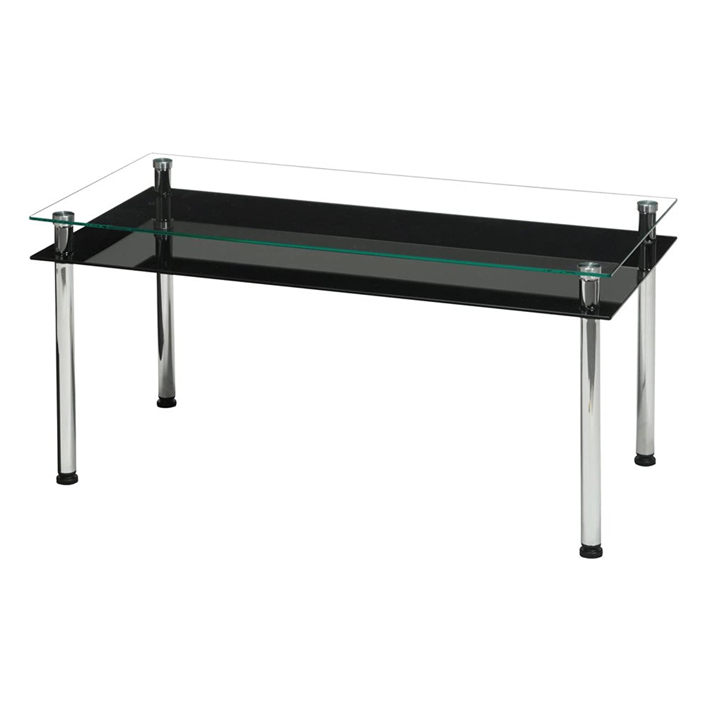 日用品 3WAYガラステーブル幅80/机/テーブル/リビングテーブル/収納付/棚付/高級感/モダン/おしゃれ ブラック B07D75NN1K