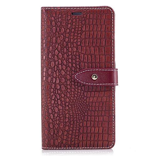 Trumpshop Smartphone Carcasa Funda Protección para Huawei P9 Lite [Negro] Patrón de Piel de Cocodrilo PU Cuero Caja Protector Billetera Choque Absorción Vino Rojo