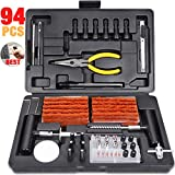 TECCPO Tire Repair Kit, 94Pcs Heavy Duty Tire Plug Kit for Car, Truck, RV, Jeep, ATV, Tractor, Trailer, Motorcycle-Universal Tire Repair Tools to Fix Punctures and Plug Flats -100% Quality Promise