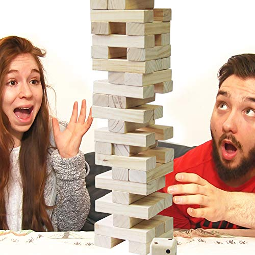 Kids Family Juegoal 54 Pieces Giant Tumble Tower Blocks Game Giant Toppling Tower Wood Stacking Game with 1 Dice Set Canvas Bag for Adult