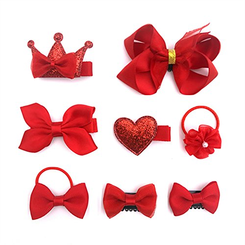 8 pcs Pretty Hair Accessories, Baby Little Girls Hair Clips, Hair Bows, Ribbon Lined Alligator Hair Clips, Hair Bands, Red (Costumes For Girls With Red Hair)