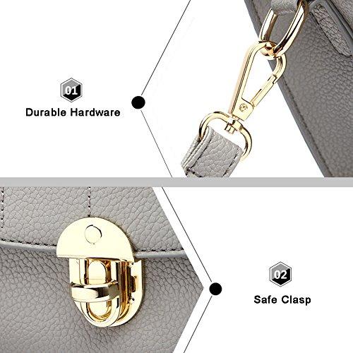Yoome elegante retro bolsa de la aleta de la cruz patrón cartera para las mujeres bolso de la bolsa de embrague embrague - gris Armada