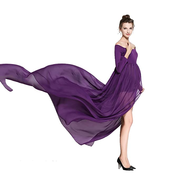 413b086bcf8d9 tueselesoleil Maternity Dresses Long Sleeve Split Front Sheer Chiffon Gown  Photography Dress for Photo Shoot Maternity