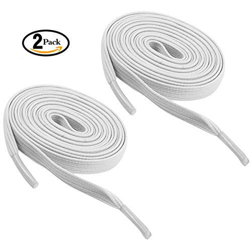 Tieless shoelaces, Newsight No tie shoelaces, Stretch shoelaces , Best in Sports Fan Shoelaces Flat Athletic Shoelaces for All Types of kids & Adult shoes (White+White) Lace Type