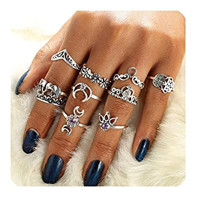 2ca36941af1ed Gudukt Knuckle Ring Set Vintage Silver Crown Unicorn Elephant Yoga Wave  Religious Joint Knuckle Rings