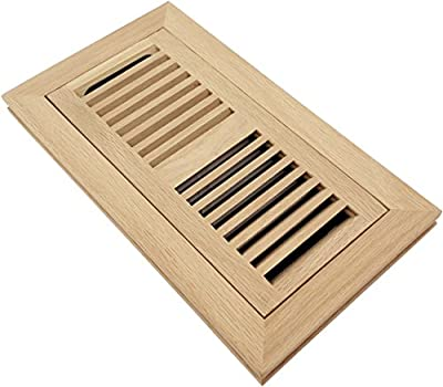 Homewell Wood Floor Register, Flush Mount Vent With Damper, 4x10 Inch, Unfinished