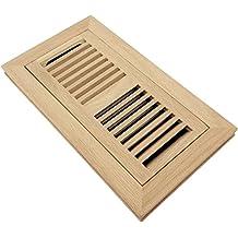 Homewell Red Oak Wood Floor Register, Flush Mount Vent With Damper, 4x10 Inch, Unfinished