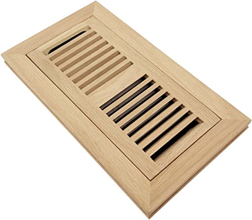 Homewell Red Oak Wood Floor Register, Flush Mount Vent With Damper, 4x10 Inch, (Flush Wood)
