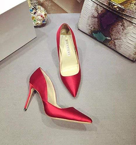 Eeayyygch Gericht Schuhe Schuhe mit hohen Absätzen Schuhe mit hohen Absätzen Schuhe mit hohem Stöckelabsatz Arbeitsschuhe Ms. schwarz Shallow Schuhe im Mund (Farbe   36, Größe   Armeegrün)