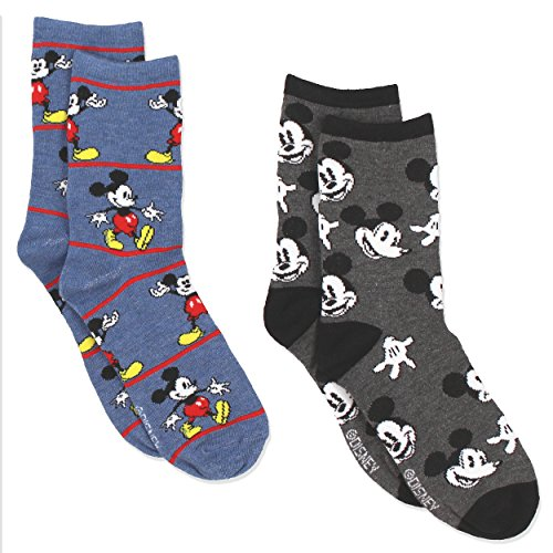 Womens Mickey Mouse (Mickey Mouse Womens 2 pack Socks (9-11 Womens (Shoe: 4-10), Crew Blue/Grey))