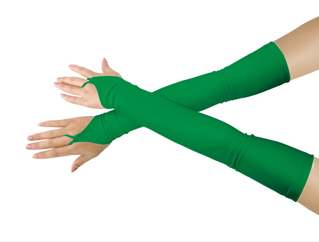 Women's Sunscream Stretchy Lycra Fingerless Over Elbow Cosplay Catsuit Opera Long Gloves (green)