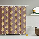 Lievon Sloth Eating Pizza Eco-Friendly Shower Curtain Water Repellent, Everyday Shower Curtain Liner Mildew-Free 65 X 70 Inch