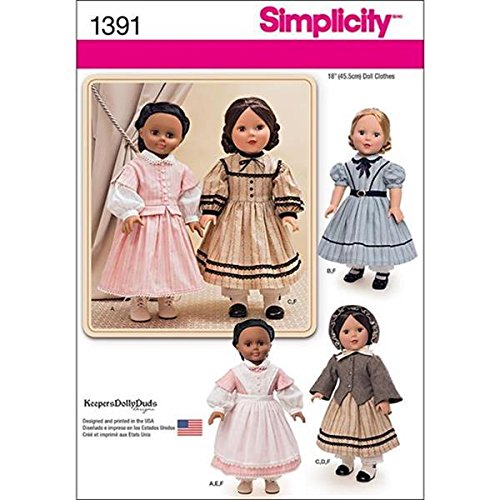 Simplicity Creative Patterns 1391 Civil War Doll Costume for 18-Inch (Civil War Costumes For Sale)