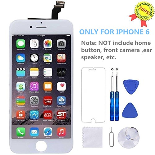 iPhone 6 Screen Replacement (White) - P-zone LCD Touch Screen Digitizer Display Pre-assembled Kit with Repair Tools + Glass Screen Protector, iPhone 6 4.7inch Only
