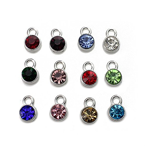 12 Birthstone Set Crystal DIY Charms Accessories for Necklace Bracelet Jewelry (Birthstone Charm)