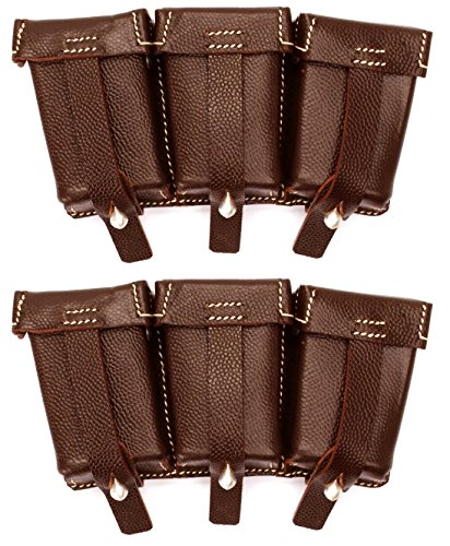 Ultimate Arms Gear 2 Pack Mauser Karabiner K98 Rifle WWII Reproduction German Brown Leather Strap Triple Ammo Ammunition Cartridge Rounds Stripper Clips Pouch D-Ring Y-Straps Belt Attachment (Strap Belt Triple)