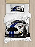 Lunarable Boy's Room Duvet Cover Set Twin Size, Modern American Muscle Race Rally Car in Stylish Fancy Drive Formula Print, Decorative 2 Piece Bedding Set with 1 Pillow Sham, Grey Black Blue