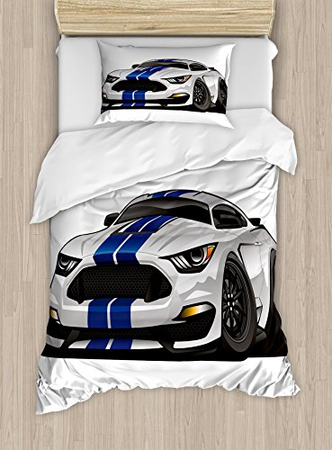 Boy's Room Duvet Cover Set Twin Size by Lunarable, Modern American Muscle Race Rally Car in Stylish Fancy Drive Formula Print, Decorative 2 Piece Bedding Set with 1 Pillow Sham, Grey Black (Muscle Car Set)