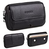 VIIGER Dual Pocket Flip Cell Phone Holster Premium Leather Men Travel Waist Bag Pack Horizontal Smartphone Pouch Belt Pouch Belt Loop Magnetic Closure Compatible iPhone 6 7 8 X Samsung S8 S9