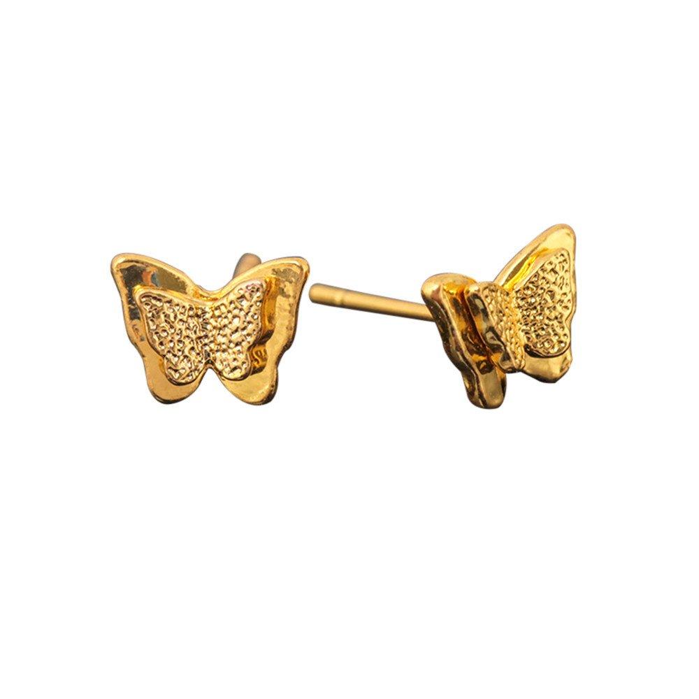 Keliay Minimalist Design 1Pair Stereoscopic Abrasive Double Butterfly Small Ear Nail Earrings Gift