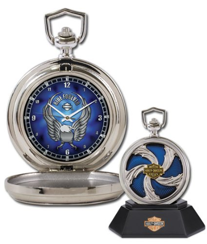 Harley-Davidson Custom Chrome Pocket Watch - Cyclone from the Franklin Mint
