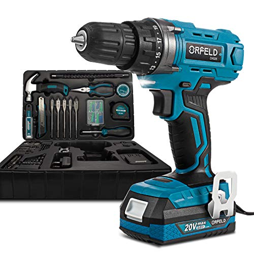 ORFELD 20V MAX Cordless Drill Driver, Power Cordless Drill Set with 165-piece Accessories(DX025B),2000mAh Lithium Battery and Big Torque