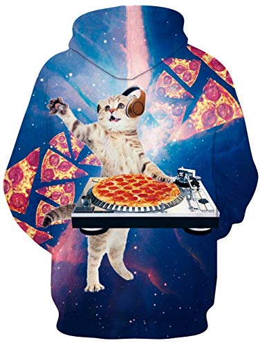 Idgreatim Pizza 3d Cappuccio 1 Tasche Cerniera Con Felpe Unisex Felpa Stampato Cat Pullover rrvxdBCq