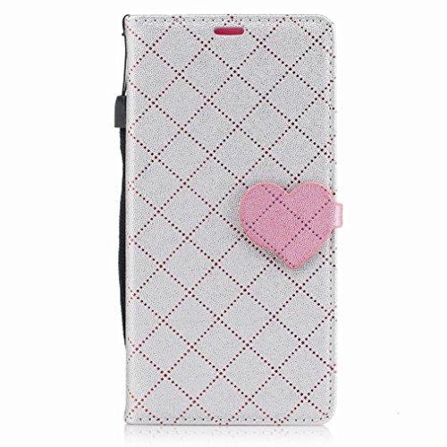 Yiizy Nokia 3 Custodia Cover, Amare Design Sottile Flip Portafoglio PU Pelle Cuoio Copertura Shell Case Slot Schede Cavalletto Stile Libro Bumper Protettivo Borsa (Grigio)