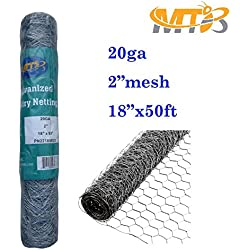 "Galvanized Hexagonal Poultry Netting,Chicken Wire 18""x50'- 2"" 20GA (also sold in 25' / 150' length)"