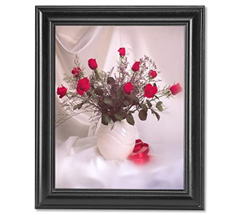 Red Stem Rose Flower Bouquet in White Vase Photo Wall Picture Framed Art Print