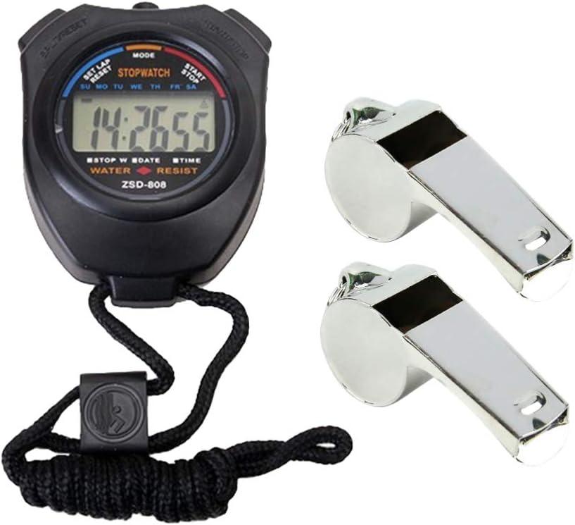 LIOOBO 3 Piezas cronómetro Profesional y silbatos cronómetro de Doble Canal Temporizador electrónico Multifuncional cronómetro Deportivo de Mano con silbatos para Correr Carreras de natación